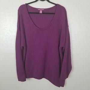 `Jessica London Asymmetrical Blackberry Sweater